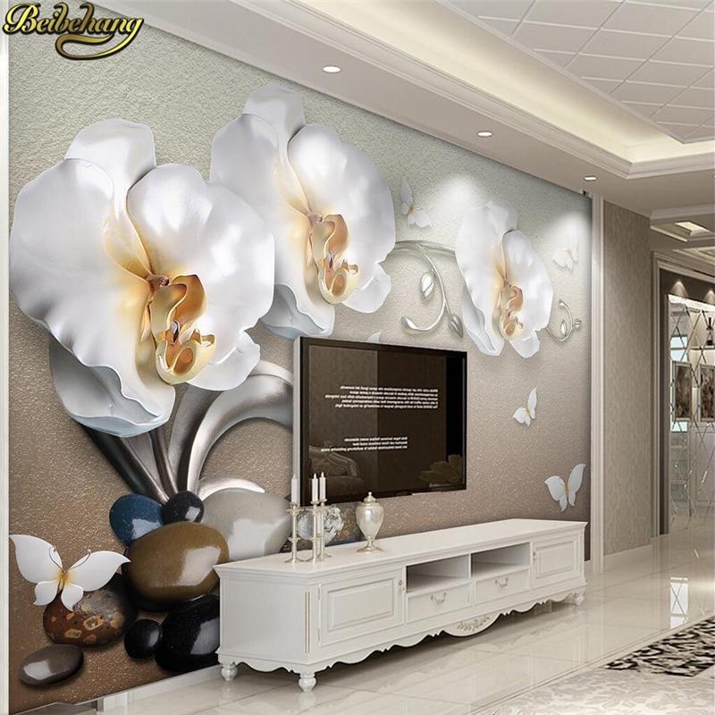 Beibehang Papel De Parede Custom Photo Wallpaper Mural 3d Luxury Golden Jewelry Phalaenopsis TV Backdrop Wallpaper For Walls 3 D
