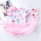 Children Baby Girls First Birthday Outfit Princess 4Pcs Clothing Infant Romper Lace Dress Headband Shoes Print Newborn Costumes