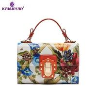 Goddess Milan Fashion Show Diamond Tote Bag Designer Luxury Handbag Women Bag Genuine Cow Leather Lady Print Flower Shoulder Bag