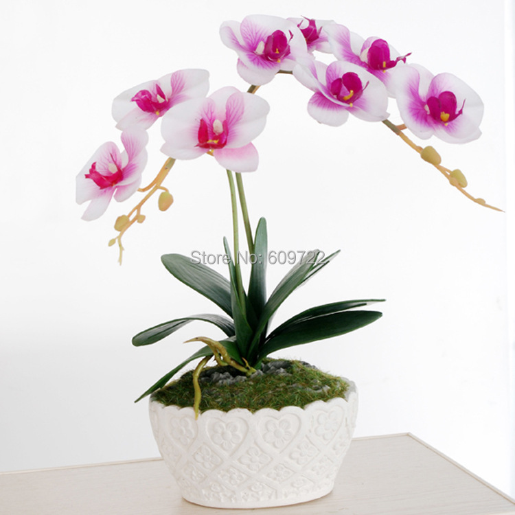 Cerise Pink Artifical Orchid Flower In Black Pot 35 Cm