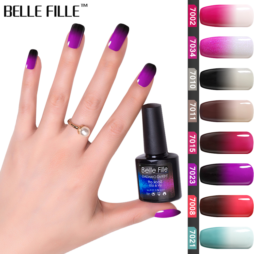 4387a79c55 BELLE FILLE Temperature Change Gel Nail Polish UV 10ml Soak Off Gel Polish  Pink Gel for Nails Varnish Vernis Semi Permanent 7023