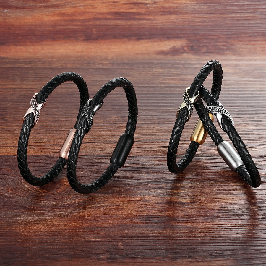 XQNI Genuine Leather Bracelet Cross Slide Design with Magnetic Buckle Gold/Rose gold/Black/Silver Color For Choice Luxury Gift