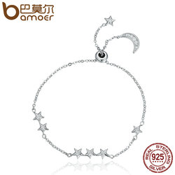 BAMOER New Arrival Genuine 925 Sterling Silver Sweet Whisper of Moon & Star Clear CZ Link Bracelet Luxury Silver Jewelry SCB007