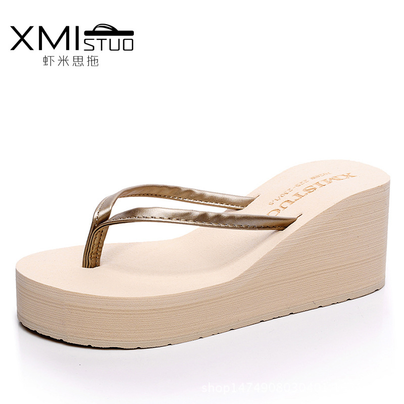 XMISTUO Brand Women Flip Flops Wedges Platform Slippers Beach Thick Heel Sandals Wedge Slippers Wedges Slides Women Summer Shoes