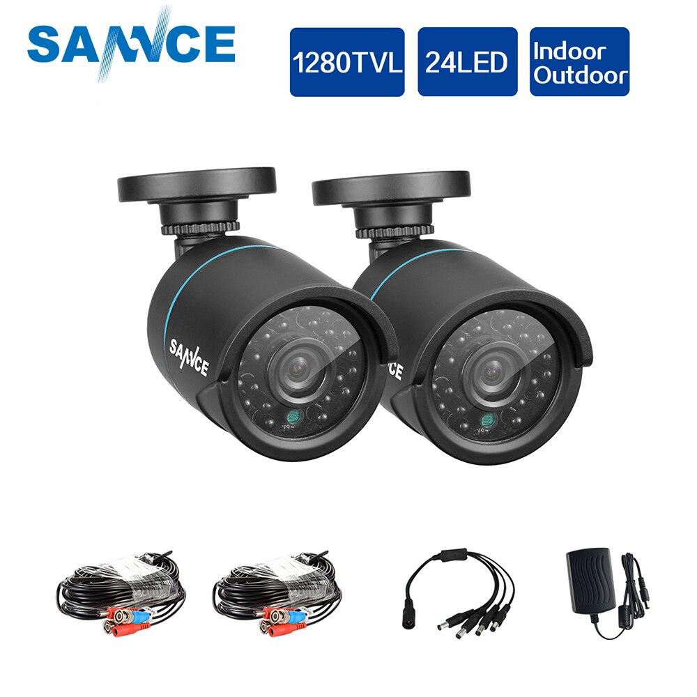 SANNCE AHD 720 P 2 шт. 1200TVL Пуля CCTV Камера Suite 1.0MP Водонепроницаемый ИК-Ночное видение Камера для наблюдения системы комплект BV