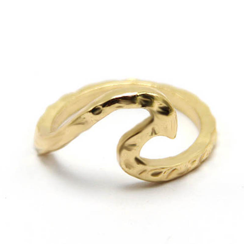 Fashion Elegant Silver Gold and rose gold color Lovers Wave Ring trendy women Hammered rings in high quality