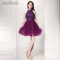 Sexy Purple Short Prom Dresses 2019 Vestidos De Formatura Curto Beading High Neck Formal Party Dress Cocktail Gowns
