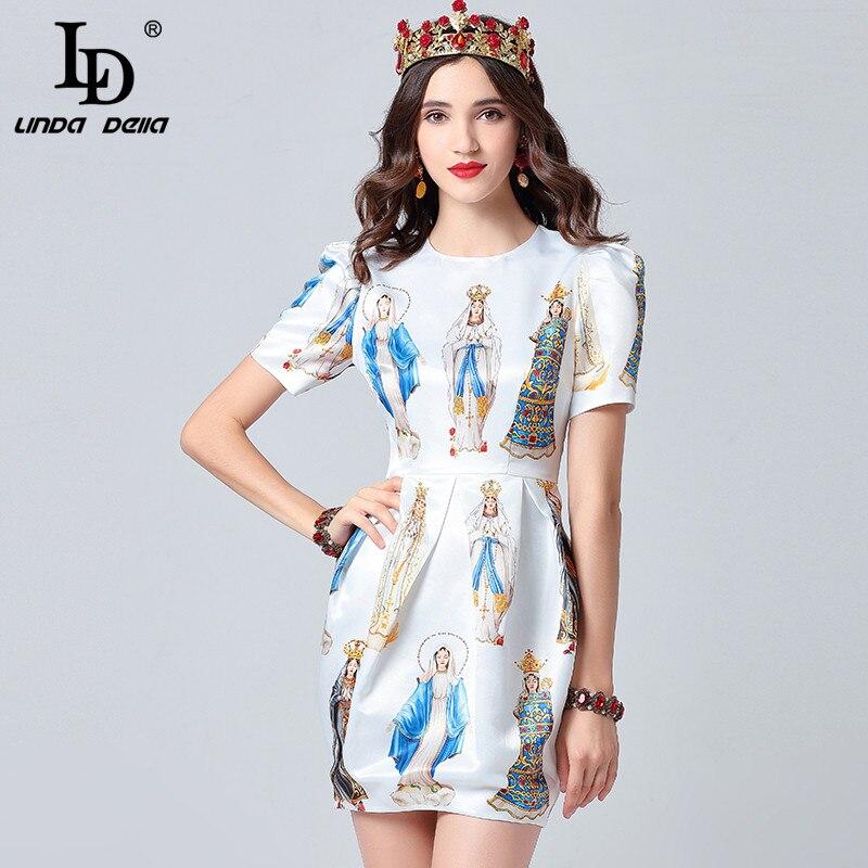 LD LINDA DELLA 2019 Fashion Designer Summer Dress Women s Short Sleeve Noble Angel Printed Elegant