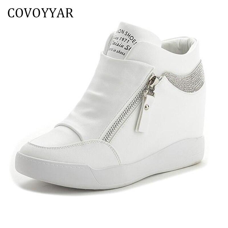 eca0a0c54b2 COVOYYAR 2019 Rhinestone High Top Women Sneakers Spring Autumn New Hidden  Heel Casual Shoes Side Zip Women White Shoes WSN175-in Women's Vulcanize  Shoes ...