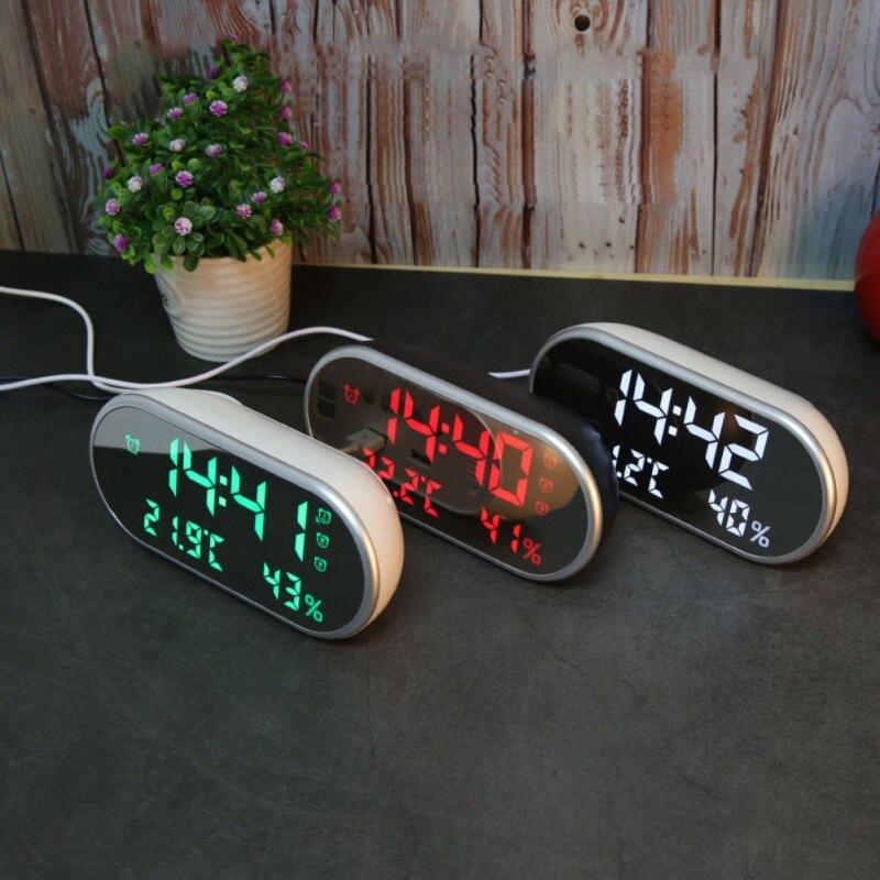2018 nouveau multi-fonction haute définition LED thermomètre voiture horloge hygromètre miroir réveil cadeau pour enfants 5.24