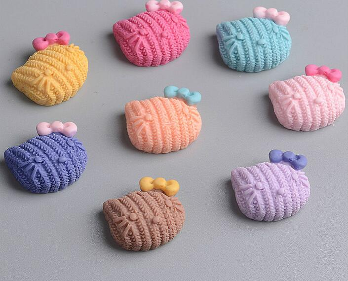 Mixed Color Cute Cat Head With Bow Flat Back Resin Cartoon Cat DIY handmade Craft Kids Hairs Jewelry DIY Phone 1.5cm*1.8cm*0.75