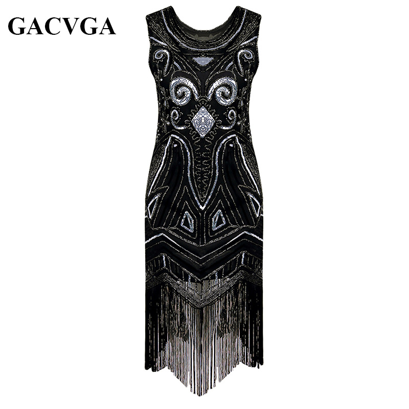 Buy Cheap GACVGA 2017 Sequin Beading Tassel Summer Dress 1920s Great Gatsby Dress Gold Black Women Long Sexy Party Dresses Vestido Longo