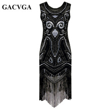 GACVGA 2017 Sequin Beading Tassel Summer Dress 1920s Great Gatsby Dress Gold Black Women Long Sexy Party Dresses Vestido Longo