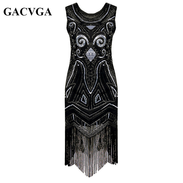 a6c8568e9965b GACVGA 2019 Sequin Beading Tassel Summer Dress 1920s Great Gatsby Dress  Gold Black Women Long Sexy Party Dresses Vestido Longo