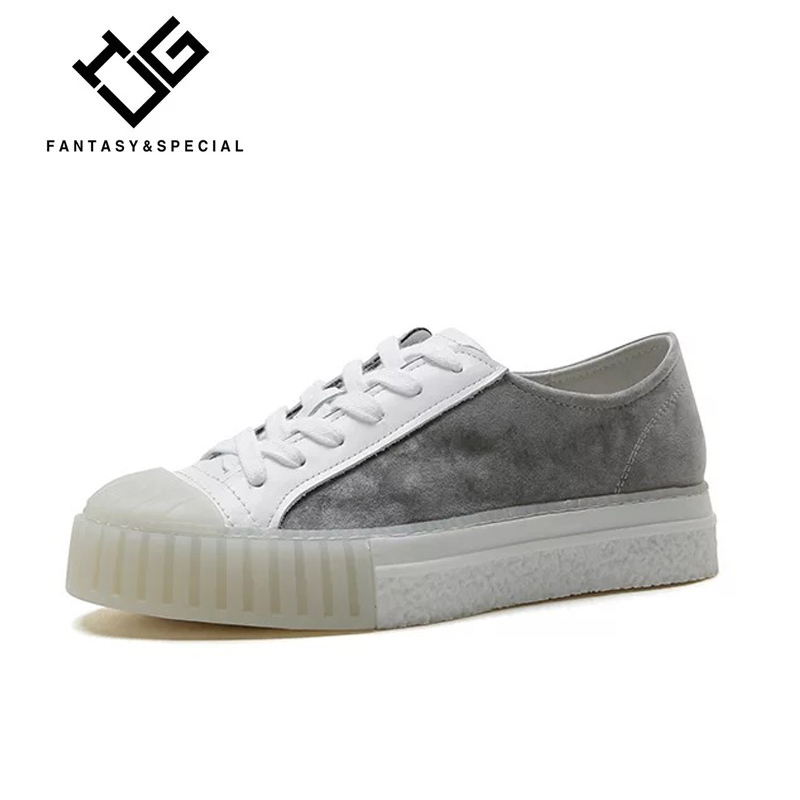 IGU 2018 Newest Casual Shoes Women Platform Genuine   leather     Suede   Gray Female Shoes Platform Sapatos Feminino Plataforma Adulto