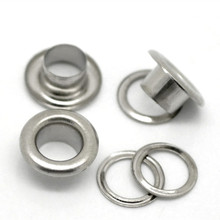 200 Sets Silver Tone Round Shoe Shoelace Clothes Eyelets DIY Crafts Bags Shoes Making Findings 8x4mm 7mm( 3/8x 1/8)