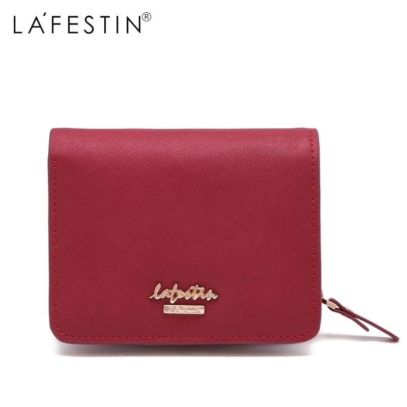 купить LAFESTIN Brand Women Wallet Luxury Genuine Leather Purse Wallets Lady Coin Purse Card Holder Female Lady Short Wallets по цене 2399.58 рублей