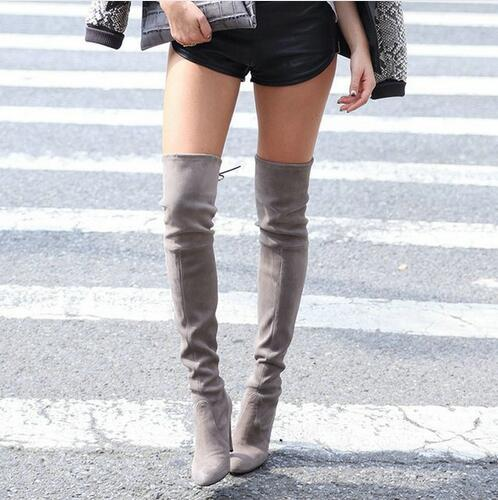 New Thigh High Women Faux Suede Sexy Fashion Over The Knee Boots Sexy Thin High Heel Boots Platform Woman Shoes Black Blue 34-43
