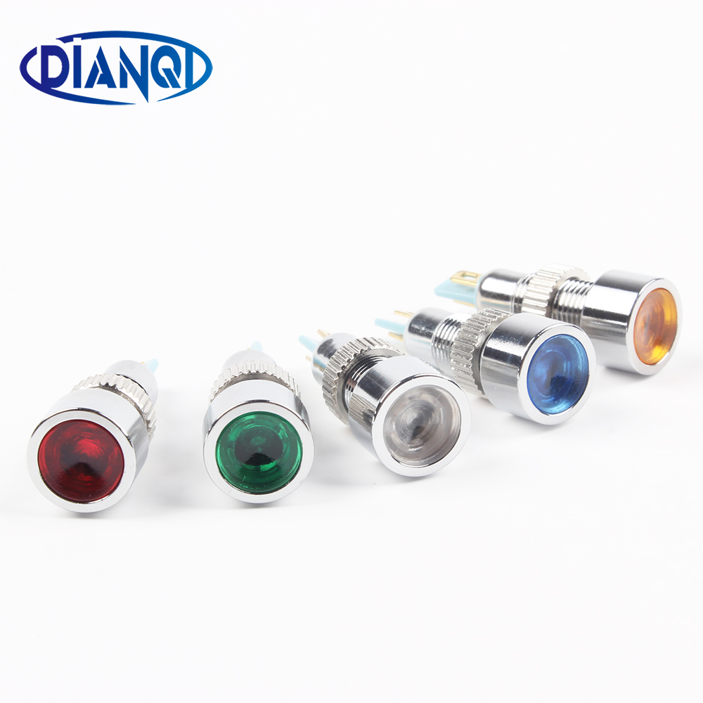 Free Shipping LED Metal Indicator Light 8mm Waterproof POWER Signal Lamp 6V 12V 24V 220v Red Yellow Blue Green White 8ZSD.DT.C