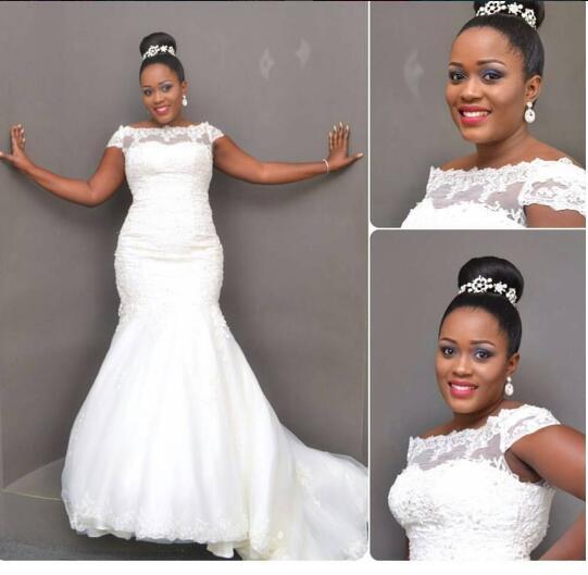 Por 2017 African American Black Wedding Dress Lace Liques Mermaid Bridal Gown