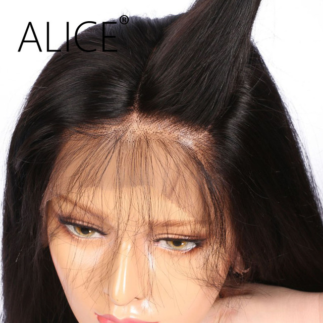 ALICE Silky Straight Brazilian Full Lace Human Hair Wigs With Baby Hair Remy Hair Pre Plucked Glueless Lace Wigs Bleached Knots
