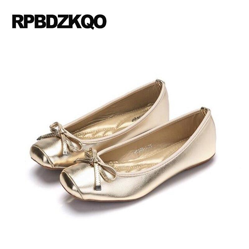 e301fb5eb61b Large Size Cheap Shoes Bowtie Ballerina Foldable Flats 10 Size 9 Soft Ballet  Women Bow Elastic