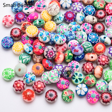 12mm Flower Pattern Clay Polymer Beads Diy Accessories For Girls Kids Handmade Round Fimo Soft pottery Wholesale C601