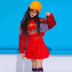 Красный джаз танцевальные костюмы для девушек блесток для уличных танцев хип-хоп производительность Костюмы дети практике Одежда Форма