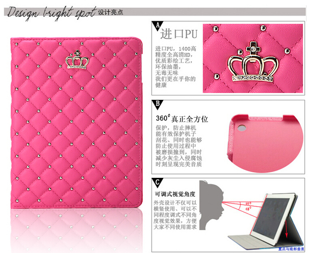 case cover for apple iPad 2 pu leather for iPad 3 ipad 4 Tablet Case 9.7″