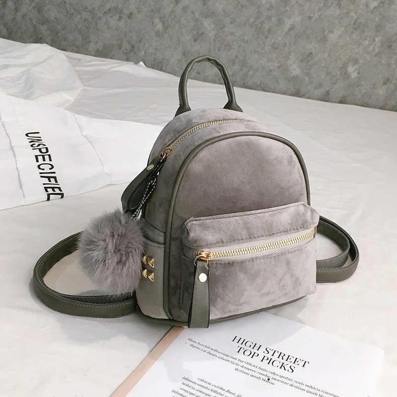 Toposhine, новые теплые мягкие бархатные женские маленькие рюкзаки, модная сумка на плечо для девочек-подростков, милые женские рюкзаки, украшенные помпонами, 2018
