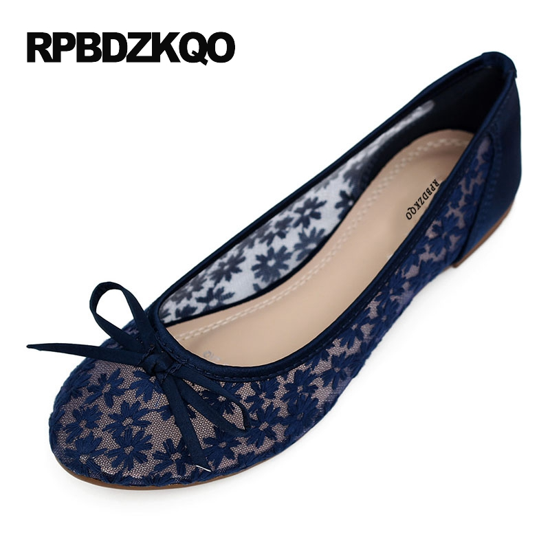 Bow Round Toe Women Flats Lightweight Lace Ladies Beautiful Shoes Hollow Out Large Size Blue Breathable Flower 34 Cheap Spring plus size 34 41 black khaki lace bow flats shoes for womens ds219 fashion round toe bowtie sweet spring summer fall flats shoes