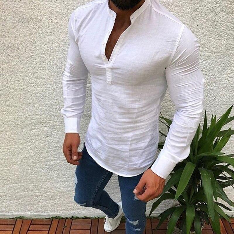 Fashion Men Shirt Long Sleeve Cotton Casual Shirt  1