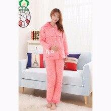 256d346e3 Gravidez Roupas de Inverno Maternidade Hamile HAPPYISLAND Camiso Gecelik Pijamas  Roupa de Dormir para a amamentação