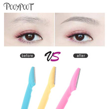 Pooypoot 3Pcs Eyebrow Trimmer Face Razor Eyebrow Remover Shaver Eye Brow Wenkbrauw Trimmer Trymer Do Brwi Makeup Beauty Tools new mermaid shaped design eyebrow trimmer eyebrow razor beauty makeup tool