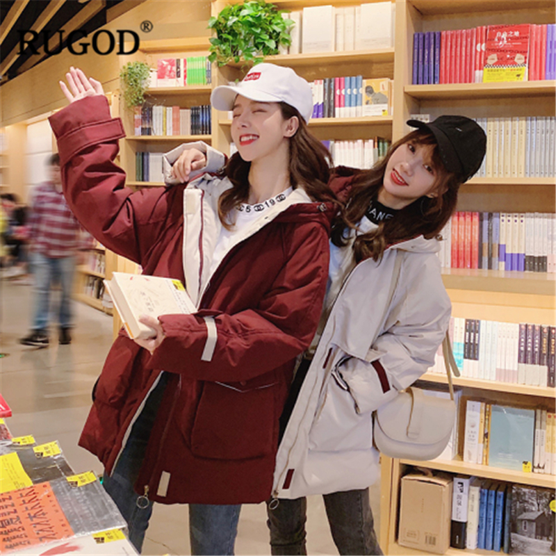 RUGOD 2019 New Women Cutton Warm Winter Jacket Hooded Loose Plus Size Safari Style Coat Korean Stylish Temperament Casual   Parka