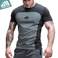 Aimpact Gym Clothing Men S Bodybuilding Tshirt Contrast Color Sport Chic Patchwork T Shirt Cotton Body