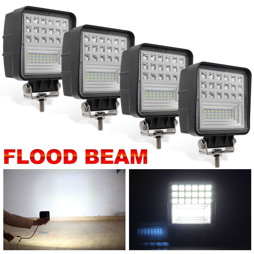 CO LIGHT 4.3inch 126W LED Work Lights Flood Beam DRL Offroad Led Bar Light for Trucks Boat ATV 4x4 4WD 12v 24v Driving Fog Lamp safego 2x 4 27w led work light 12v 24v off road 4x4 car trucks atv 4wd tractor led offroad lights flood spot driving lamp