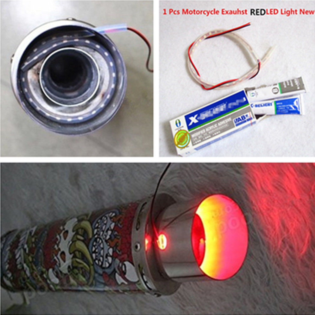 Exhaust Tail Pipe Red Heated LED Light Strip Modification Firing for Motorcycle in Mufflers from Automobiles Motorcycles