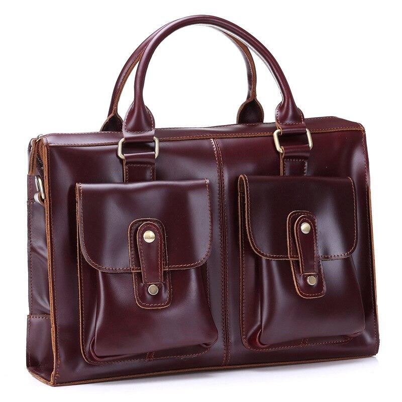 2018 New Luxury 100% Cow Genuine Real Leather Business Men's Briefcase Male Shoulder Bag Men's Messenger Bag Tote Computer Bag