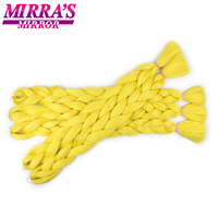 Mirra's Mirror 5 Packs 165g Braiding Hair Yellow Jumbo Braid Hair Extensions Red Synthetic Hair 82 inch For Bulk 21 Colors