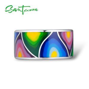 Image 2 - Santuzza Zilveren Ringen Voor Vrouwen Lord Of The Ring Handgemaakte Kleurrijke Enamel Ring Pure 925 Sterling Silver Party Mode sieraden