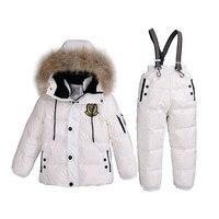 3~7T Russian Real Fur Warm Children Clothing Sets Girls Winter Down Coat Boys Jacket Children's Snowsuit Kids Outdoor Ski suit
