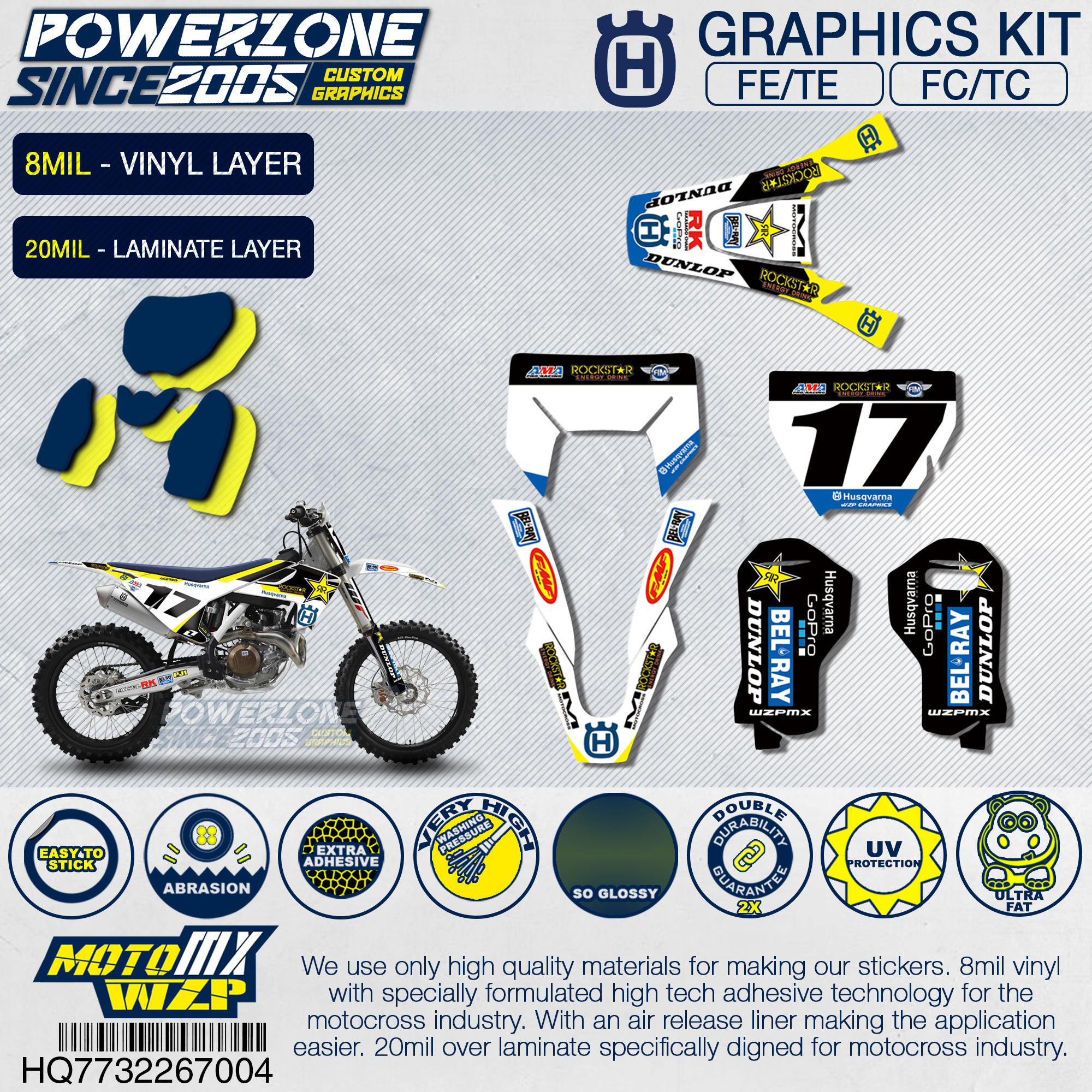 PowerZone Team Graphics Backgrounds Decals 3M Custom Stickers Roc Kit For Husqvarna 2017 18 19 FE TE FC TC 250 350 450 500cc 704
