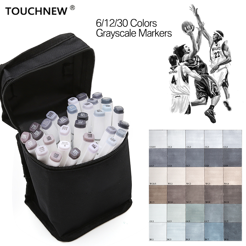 TOUCHNEW 6/12/30 Colors Grey Marker Pen Set Grayscale Dual Head Art Markers Set for Sketching Shading Illustrating Drawing dainayw 12 cool grey colors marker pen grayscale dual head art markers set for manga design drawing school student supplies