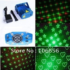 Sound Active Mini Green&Red DJ Laser Stage Lighting Light Disco Party Club& Karaoke free shipping to All world