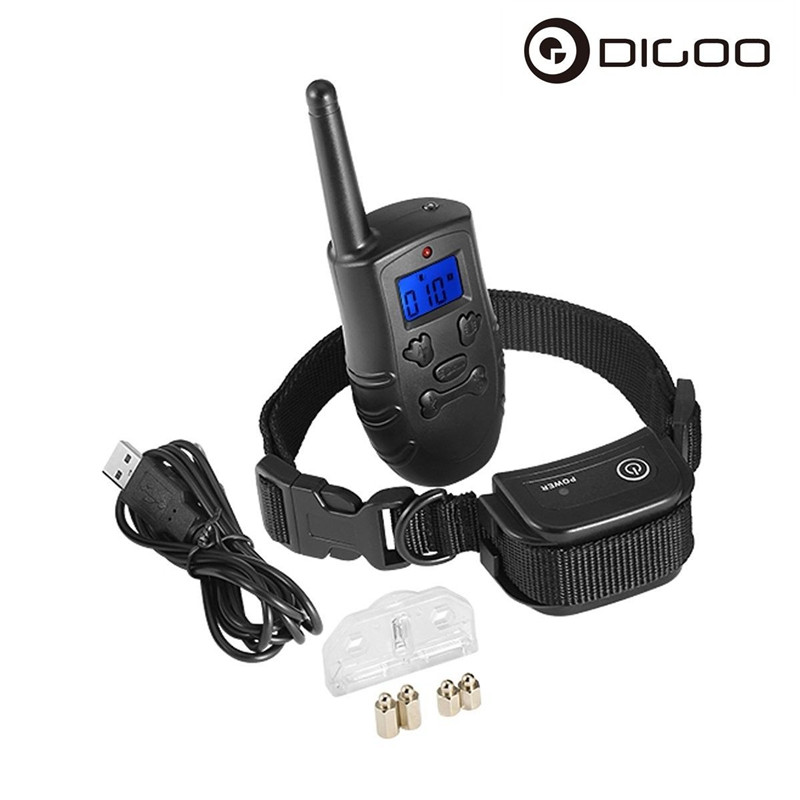 Digoo DG-PPT1 PPT1 Waterproof Rechargeable Receiver Dog Shock Training Pet Trainer With Remote Transmitter / Blue Backlit LCD цена