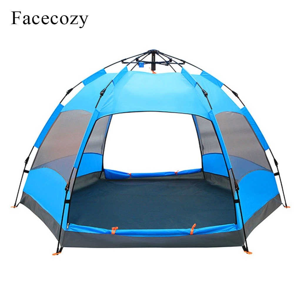 Facecozy Quick Automatic Open Hexagon Tent +Rain Cover Double Anti-UV Waterproof 3-4 Family Wigwam 5-8 Man Outdoor Camping Tents mobi outdoor camping equipment hiking waterproof tents high quality wigwam double layer big camping tent