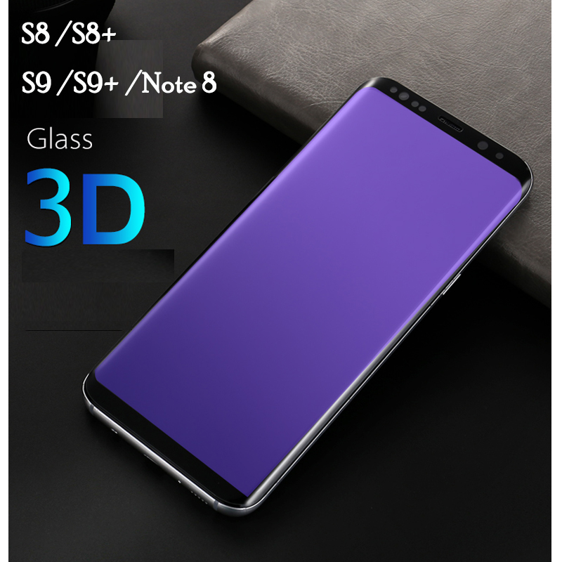 Anti-Glare Blue Light Tempered Glass for Samsung Note 8 S8 S8 plus S9 S9 plus 3D Curved Arc Edge Eye Care black Screen Protector