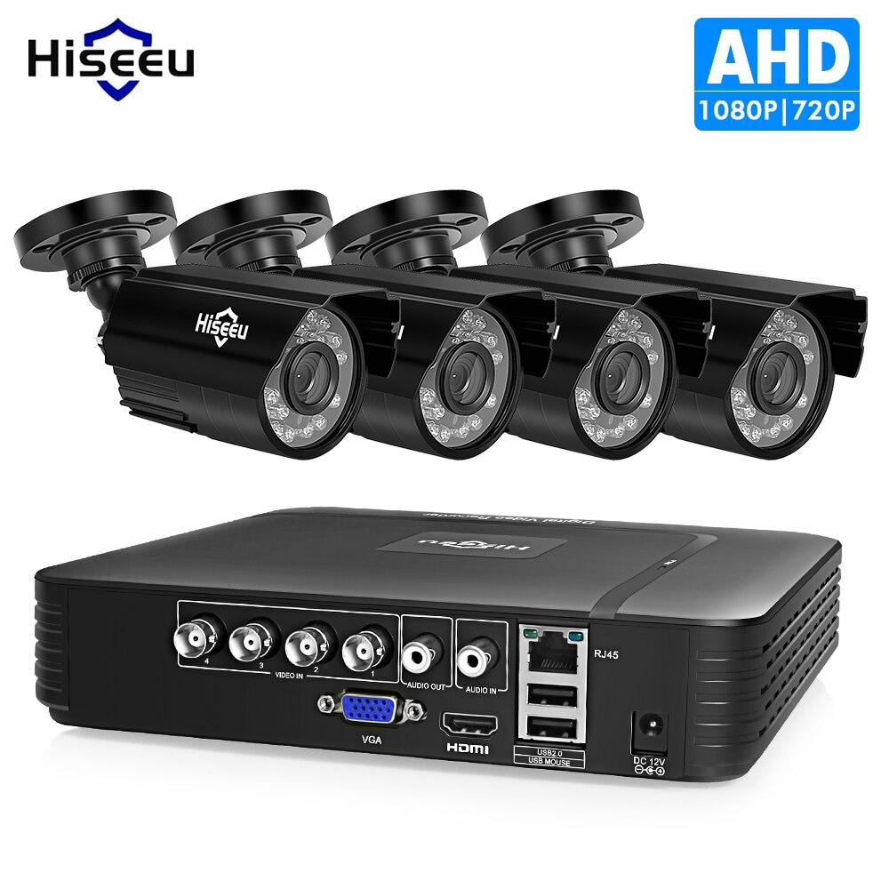 Hiseeu 4CH CCTV camera System 720P/1080P security Camera AHD DVR Kit CCTV waterproof Outdoor home Video Surveillance System HDD