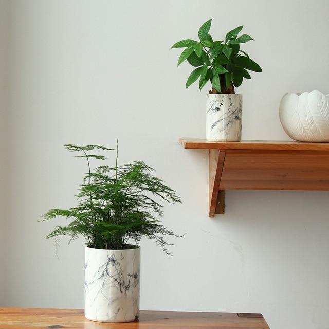 Home Decor Flower Pots Ceramic Vases Marble Texture Decorative Flowerpot Planters